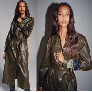 NWT ZARA Faux Leather Belted Midi Dress Olive XXL
